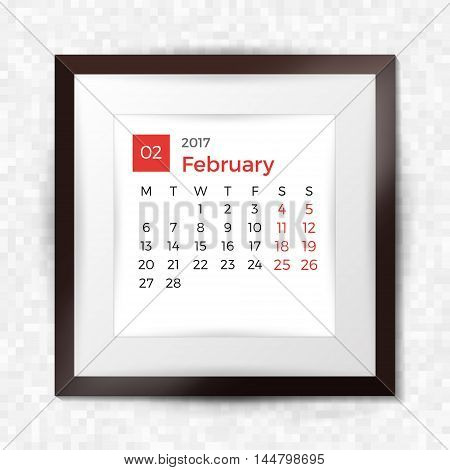 Realistic Square Picture Frame With Calendar For February 2017. Isolated On Pixel Background. Vector