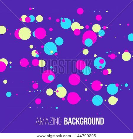 Abstract randomly dotted colorful background. Funny vector illustration.