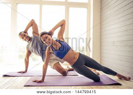 Afro American Couple Doing Yoga
