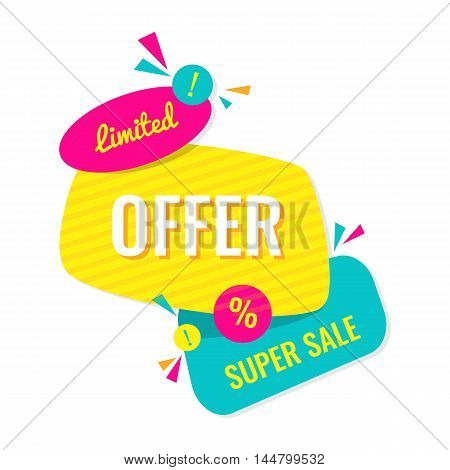 Limited offer. Super sale. Vector banner illustration