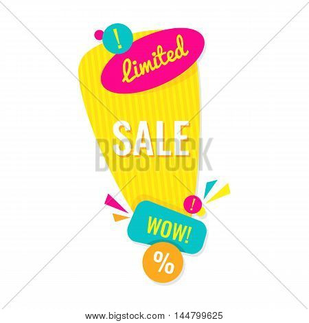 Advertising banner. Limited sale wow. Colorful vector illustration