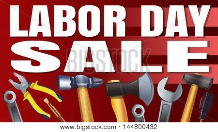 Labor Day Sale. Red banner with different tools. Vector illustration