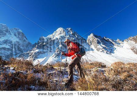 Hiker in Himalayas mountain. Nepal