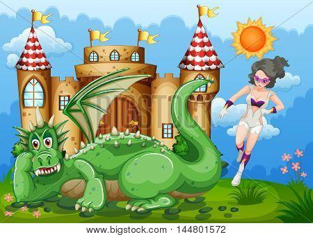 Superhero and green dragon at castle illustration