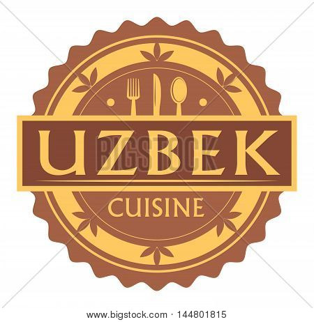 Abstract stamp or label with the text uzbek Cuisine written inside, traditional vintage food label, with spoon, fork, knife symbols, vector illustration