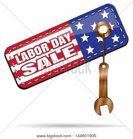 Labor Day Sale. Tag color US flag and golden wrench. Vector illustration isolated on white background