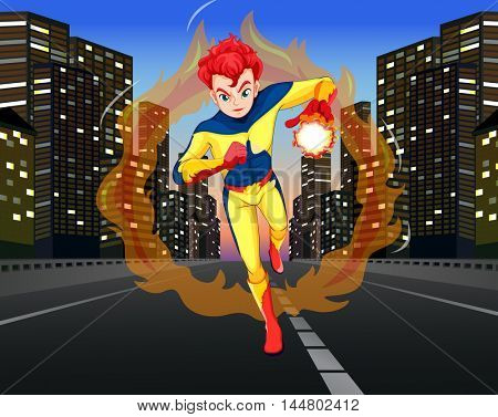 Superhero on the road in the city illustration
