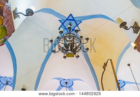 SAFED ISRAEL - FEBRUARY 22 2016: The white ceiling of Ari Ashkenazi Synagogue decorated with blue David's Star on February 22 in Safed.