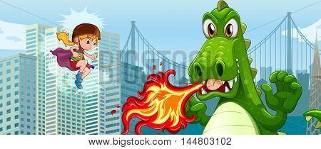 Superhero fighting green dragon in city illustration