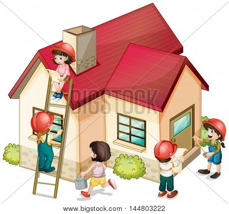 Many children constructing the house illustration