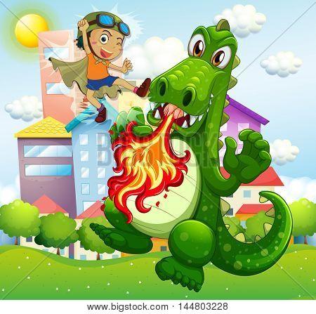 Hero fighting green dragon in park illustration