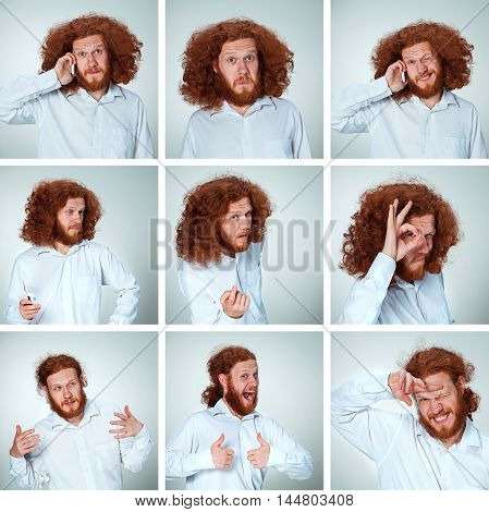 The young man with long red hair posing on gray background with funny face expressions. Collage