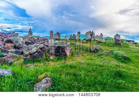 The walk among the mystic and unique Army of Stones (Zorats Karer) of Carahunge archaeological site Sisian Syunik Province Armenia.