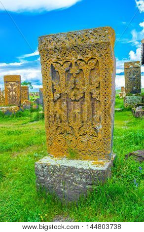 The khachkar with two carved crosses surrounded by beautiful pattern Noratus Cemetery Gegharkunik Province Armenia.