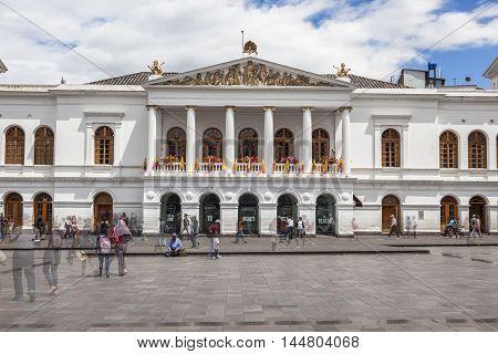 QUITO ECUADOR - JUNE 30 2015: Teatro Sucre theater on Plaza del Teatro square is one of the most visited sites in old town of Quito Ecuador
