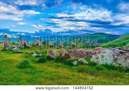 The site of Zorats Karer is the unique spiritual place famous among the locals as Armenian Stonehenge Syunik Province Armenia.
