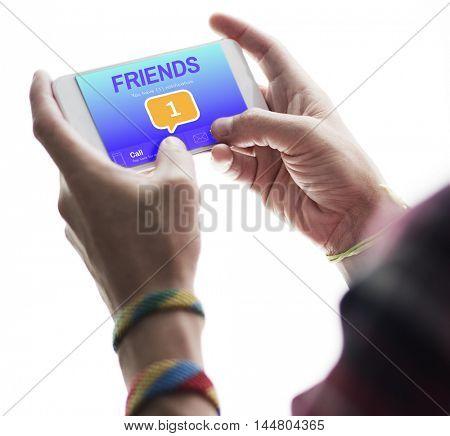Friends Social Communication Message Graphic Concept