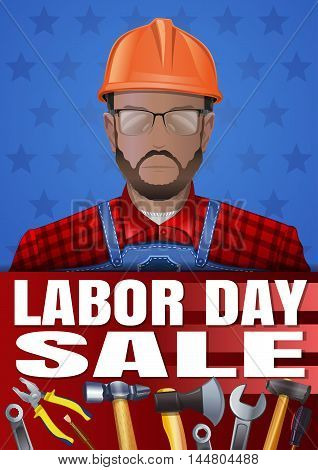 Labor Day poster with various tools worker man wearing glasses and a helmet and inscription - Labor Day Sale. Vector illustration