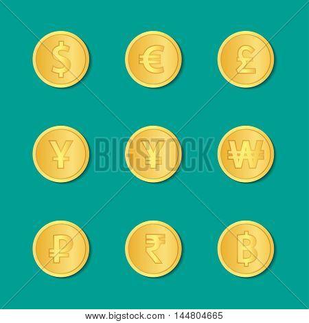 Set Of Gold Coins. Vector Illustration.