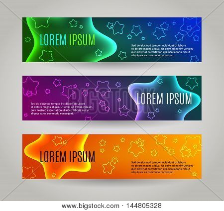 Set of 3 abstract banners with multiple colored stars. EPS 10