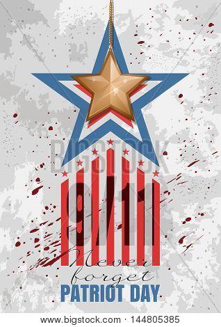 Patriot Day background. September 11. Never forget. Vector illustration