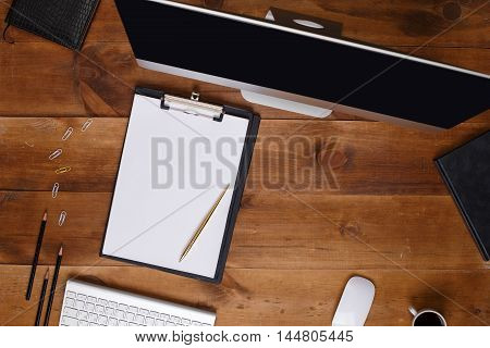 Post blog social media. View from above with copy space. Background for banner template layout mockup.Brown wooden office table, top view on workplace. View from above with copy space