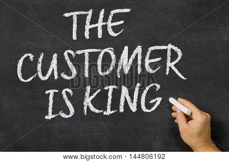 The Customer Is King Written On A Blackboard