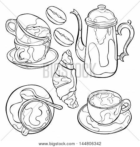 Hot drink. Coffee pot and coffee cup. Isolated vector objects on white background.