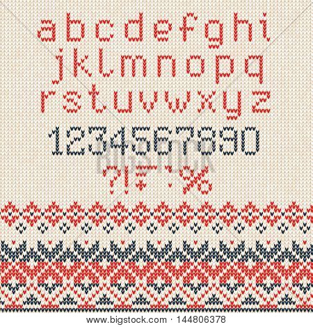 Handmade Knitted Abstract Background Pattern With Alphabet, Lowe