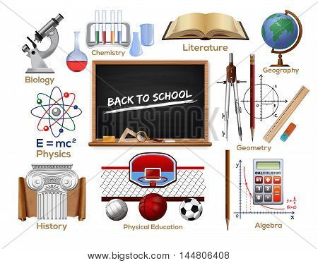 School icons set. School subjects. Concept design for the Knowledge Day. Back to school. Vector color illustration