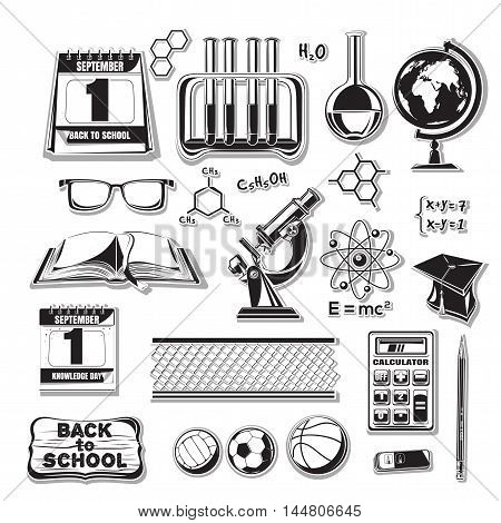 Back to school icons set. Vector icons on a white background