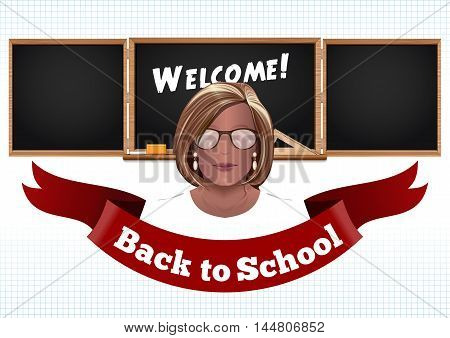 Back to school card. Woman teacher on a background of black chalkboard. Vector illustration
