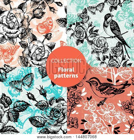Seamless hans drawn floral pattern set vector illustrations