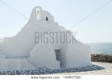 Mykonos, Greece - Paraportiani  Orthodox Church. The Church of Panagia Paraportiani at Kastro area, in the town of Mykonos.