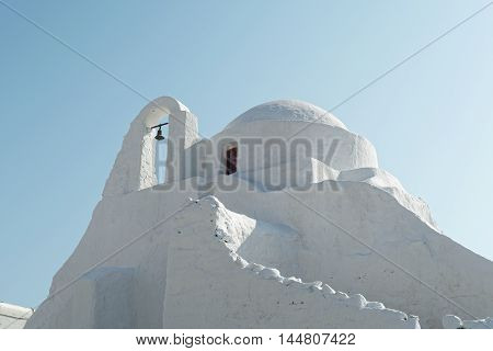 Mykonos, Greece - The Orthodox Church of Panagia Paraportiani. The Church of Panagia Paraportiani at Kastro area, in the town of Mykonos, between Little Venice and the old port.