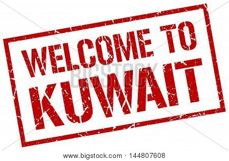 welcome to Kuwait. stamp. grunge square sign