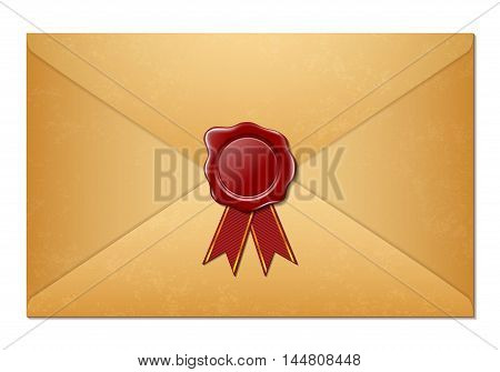 Antique envelope with wax seal isolated on a white background