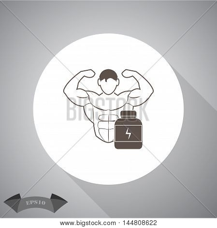 Bodybuilder and Sports nutrition. sport vector icon for web and mobile