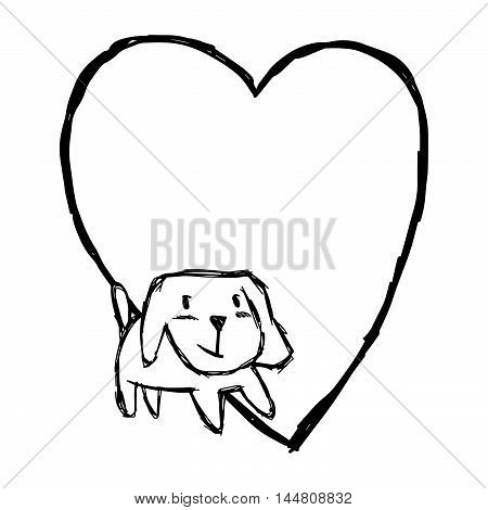 illustration vector hand draw doodles of cute dog smiling with blank heart shape isolated on white background