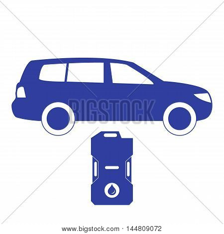 Stylized Icon Of The Car And Canister Of Gasoline