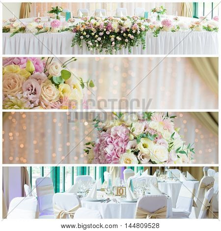 wedding reception, collage of wedding decor