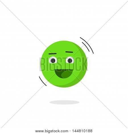 Happy smiling emotion icon vector isolated on white background, flat simple emoji face smile, fanny cheerful positive emoticon character