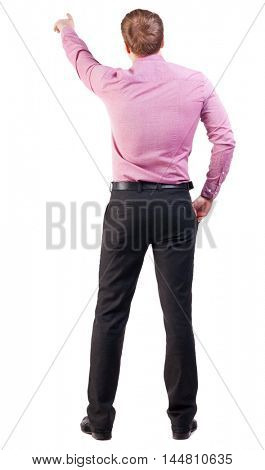 Back view of  pointing young business men in  pink shirt. blonde businessman  gesture. Rear view people collection.  backside view of person.  Isolated over white background.