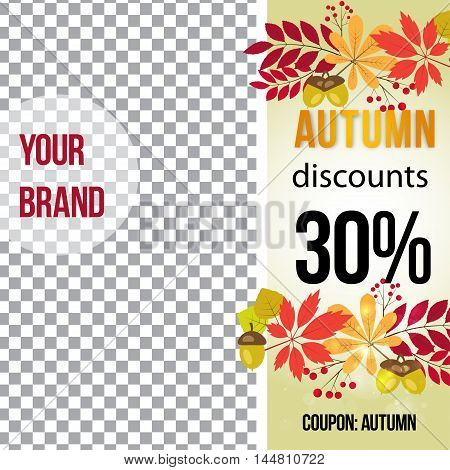 vector photo frame for promotions. autumn banner template for social media.