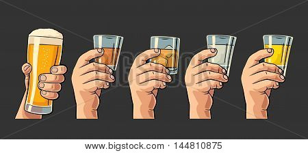Male hand holding a glasses with beer tequila vodka rum whiskey. Vintage color vector engraving illustration for label poster invitation to party and birthday. Isolated on black background