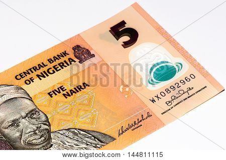 5 Nigerian naira bank note. Nigerian naira is the main currency of Nigeria