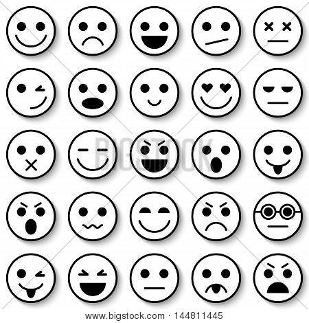 Set of Emoticons. Set of Emoji. Emoticon icons. Emoticon flat design. Emoticon collection. Isolated vector illustration