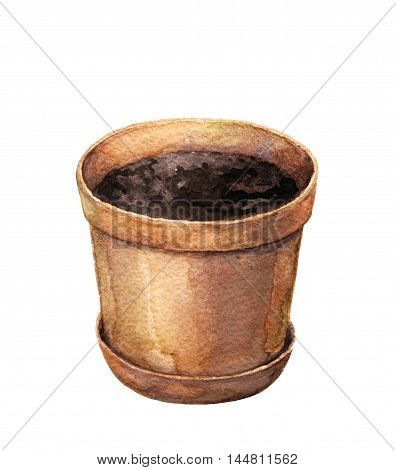 Hand drawn clay pot for plants isolated on white. Flowerpot with soil for planting.