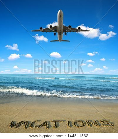 Landing an aircraft on a tropical island. Summer vacation concept.