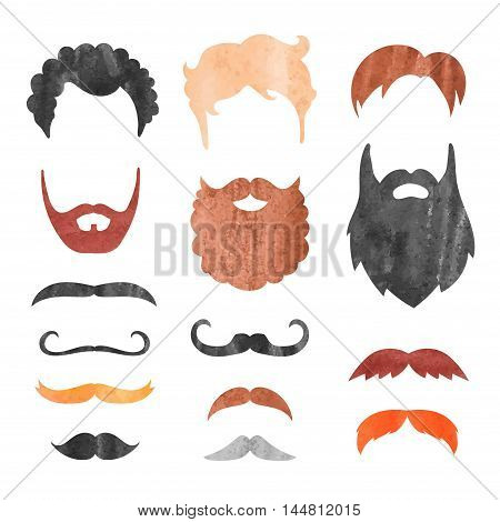 Watercolor mustache, beard and haircut set. Birthday party men photo booth props. Vector illustration.